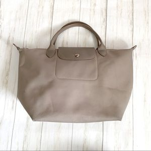 LONGCHAMP Modele Depose Gray Nylon Leather Handbag
